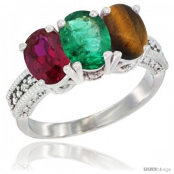 14K White Gold Natural Ruby, Emerald & Tiger Eye Ring 3-Stone Oval 7x5 mm Diamond Accent
