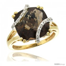 14k Yellow Gold Diamond Smoky Topaz Ring 7.5 ct Cushion Cut 12 mm Stone, 1/2 in wide