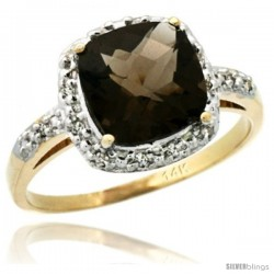 14k Yellow Gold Diamond Smoky Topaz Ring 2.08 ct Cushion cut 8 mm Stone 1/2 in wide
