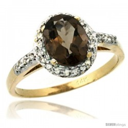 14k Yellow Gold Diamond Smoky Topaz Ring Oval Stone 8x6 mm 1.17 ct 3/8 in wide
