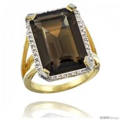 14k Yellow Gold Diamond Smoky Topaz Ring 14.96 ct Emerald shape 18x13 Stone 13/16 in wide