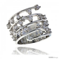 Highest Quality Sterling Silver 3/4 in (19 mm) wide Ladies' Right Hand Ring, Brilliant Cut CZ Stones -Style Rcz463