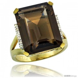 14k Yellow Gold Diamond Smoky Topaz Ring 12 ct Emerald Cut 16x12 stone 3/4 in wide