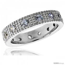 Highest Quality Sterling Silver 3/16 in (5 mm) wide Fancy Ladies' Band, Brilliant Cut CZ Stones