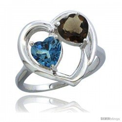 14k White Gold 2-Stone Heart Ring 6mm Natural London Blue Topaz & Smoky Topaz Diamond Accent