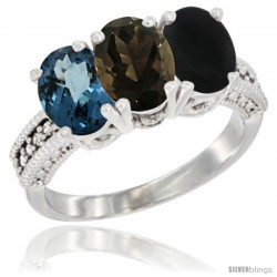 14K White Gold Natural London Blue Topaz, Smoky Topaz & Black Onyx Ring 3-Stone 7x5 mm Oval Diamond Accent