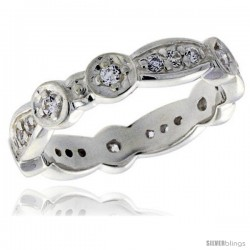Highest Quality Sterling Silver 3/16 in (4 mm) wide Fancy Oval Links Ladies' Band, Brilliant Cut CZ Stones
