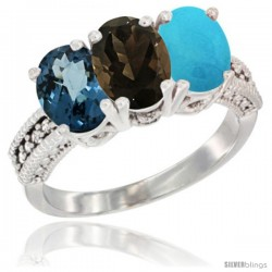 14K White Gold Natural London Blue Topaz, Smoky Topaz & Turquoise Ring 3-Stone 7x5 mm Oval Diamond Accent