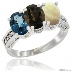 14K White Gold Natural London Blue Topaz, Smoky Topaz & Opal Ring 3-Stone 7x5 mm Oval Diamond Accent