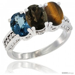 14K White Gold Natural London Blue Topaz, Smoky Topaz & Tiger Eye Ring 3-Stone 7x5 mm Oval Diamond Accent