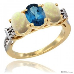 10K Yellow Gold Natural London Blue Topaz & Opal Sides Ring 3-Stone Oval 7x5 mm Diamond Accent
