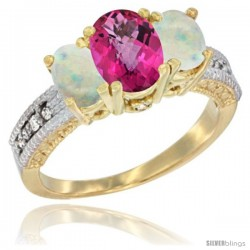 10K Yellow Gold Ladies Oval Natural Pink Topaz 3-Stone Ring with Opal Sides Diamond Accent