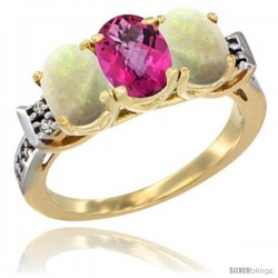 10K Yellow Gold Natural Pink Topaz & Opal Sides Ring 3-Stone Oval 7x5 mm Diamond Accent