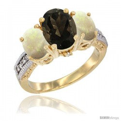 10K Yellow Gold Ladies 3-Stone Oval Natural Smoky Topaz Ring with Opal Sides Diamond Accent