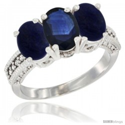 10K White Gold Natural Blue Sapphire & Lapis Sides Ring 3-Stone Oval 7x5 mm Diamond Accent