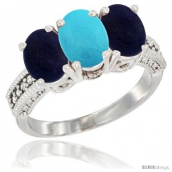 10K White Gold Natural Turquoise & Lapis Sides Ring 3-Stone Oval 7x5 mm Diamond Accent