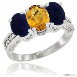10K White Gold Natural Whisky Quartz & Lapis Sides Ring 3-Stone Oval 7x5 mm Diamond Accent