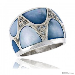 Highest Quality Sterling Silver 5/8 in (16 mm) wide Ladies' Dome Band, Blue Mother of Pearl & Brilliant Cut CZ Stones