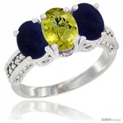 10K White Gold Natural Lemon Quartz & Lapis Sides Ring 3-Stone Oval 7x5 mm Diamond Accent