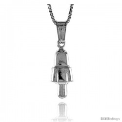 Sterling Silver Small Bell Pendant, Made in Italy. 5/8 in. (16 mm) Tall