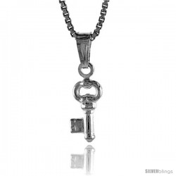 Sterling Silver Teeny Key Pendant, Made in Italy. 3/8 in. (9 mm) Tall