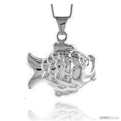 Sterling Silver Large Fish Pendant, Made in Italy. 1 3/16 in. (30 mm) Tall