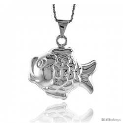 Sterling Silver Large Fish Pendant, Made in Italy. 15/16 in. (24 mm) Tall