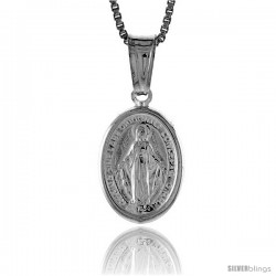Sterling Silver Immaculate Concepcion Medal, Made in Italy. 9/16 in. (14 mm) Tall