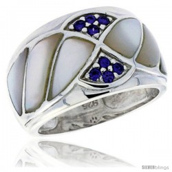 Highest Quality Sterling Silver 1/2 in (15 mm) wide Ladies' Dome Band, Mother of Pearl & Brilliant Cut Amethyst-colored CZ