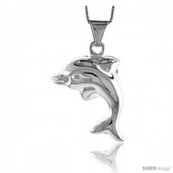 Sterling Silver Large Dolphin Pendant, Made in Italy. 1 5/6 in. (33 mm) Tall
