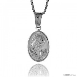 Sterling Silver A Praying Pendant, Made in Italy. 9/16 in. (14 mm) Tall