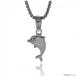 Sterling Silver Teeny Dolphin Pendant, Made in Italy, 5/16 in. (8 mm) Tall