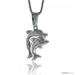Sterling Silver Small Double Dolphin Pendant, Made in Italy. 11/16 in. (17 mm) Tall