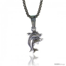 Sterling Silver Teeny Double Dolphin Pendant, Made in Italy. 5/16 in. (8 mm) Tall