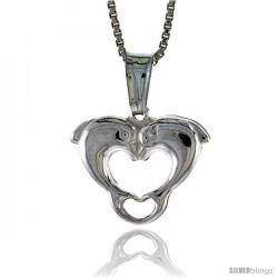 Sterling Silver Kissing Dolphin Heart Pendant, Made in Italy. 9/16 in. (14 mm) Tall