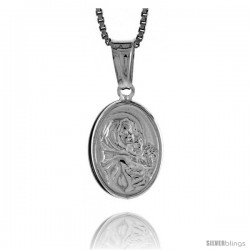 Sterling Silver Madonna & Child Medal, Made in Italy. 9/16 in. (14 mm) Tall