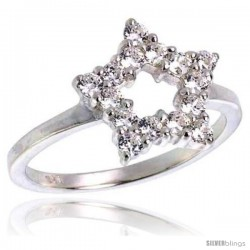 Highest Quality Sterling Silver 1/2 in (13 mm) wide Ladies' Star Cut-out Ring, Brilliant Cut CZ Stones