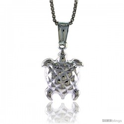 Sterling Silver Turtle Pendant, Made in Italy. 9/16 in. (15 mm) Tall