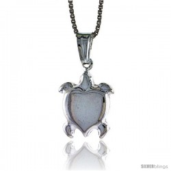 Sterling Silver Turtle Pendant, Made in Italy. 9/16 in. (15 mm) Tall -Style Iph235