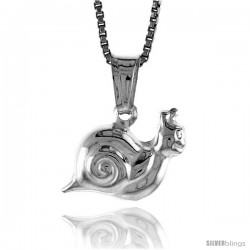 Sterling Silver Snail Pendant, Made in Italy. almost 7/16 in. (11 mm) Tall