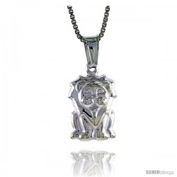 Sterling Silver Lion Pendant, Made in Italy. almost 9/16 in. (14 mm) Tall