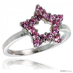 Highest Quality Sterling Silver 1/2 in (13 mm) wide Ladies' Star Cut-out Ring, Brilliant Cut Pink Tourmaline-colored CZ Stones