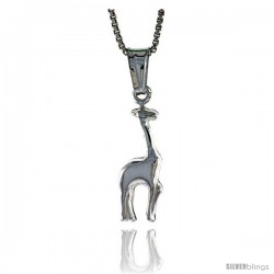 Sterling Silver Giraffe Pendant, Made in Italy. 11/16 in. (18 mm) Tall