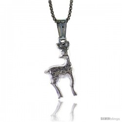 Sterling Silver Giraffe Pendant, Made in Italy. 11/16 in. (18 mm) Tall -Style Iph241