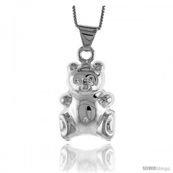 Sterling Silver Large Teddy Bear Pendant, Made in Italy. 1 3/16 in. (30 mm) Tall