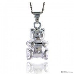 Sterling Silver Large Teddy Bear Pendant, Made in Italy. 13/16 in. (21 mm) Tall
