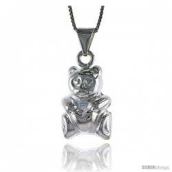 Sterling Silver Large Teddy Bear Pendant, Made in Italy. 7/8 in. (23 mm) Tall