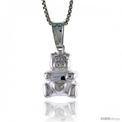 Sterling Silver Small Teddy Bear Pendant, Made in Italy. 1/2 in. (13 mm) Tall -Style Iph248
