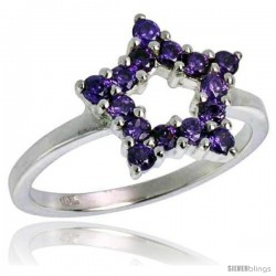 Highest Quality Sterling Silver 1/2 in (13 mm) wide Ladies' Star Cut-out Ring, Brilliant Cut Amethyst-colored CZ Stones