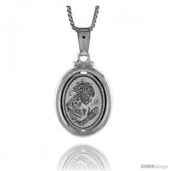 Sterling Silver A Praying Pendant, Made in Italy. 3/4 in. (19 mm) Tall